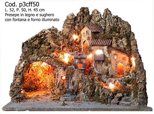 artigianale PRESEPE MOD. P3CFF50 con Fontana E Forno Illuminato 52X50X45H
