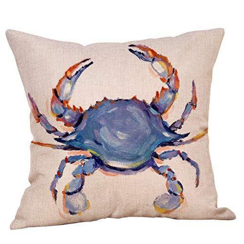 Dekorativ Kissenbezug Geography Theme Meerestiere Krabbe Seestern Schale 45 x 45cm Sofa Büro Dekor Kissenhülle aus Baumwoll und Leinen By Vovotrade -