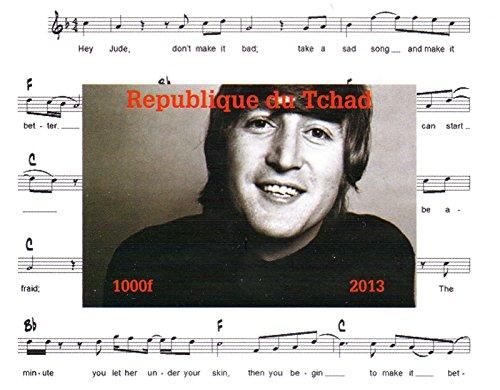 La collezione Beatles - John Lennon Imperforate miniatura francobollo minifoglio - condizioni superbe e mai incernierate - 2013 / Ciad / 1000F