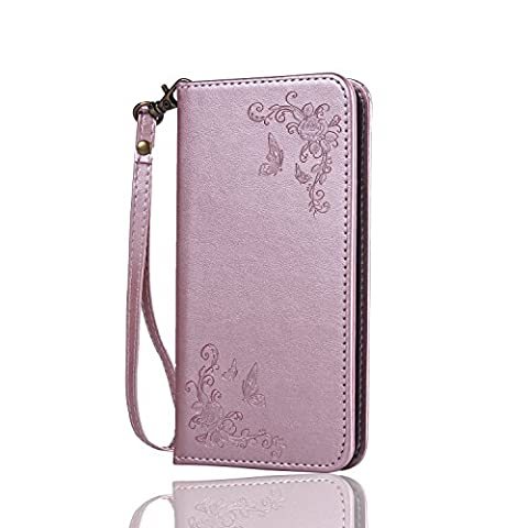 Cozy Hut Samsung Galaxy A8 (2016) SM- A810F Hülle | Handyhülle | Schutzhülle | Handytasche | Tasche | Cover | Case mit Premium Vintage / Retro Genuine Scrub Leather Flip Folio Leather Wallet Stand Case with card slots and side pocket Shell Für Samsung Galaxy A8 (2016) SM- A810F Schmetterlings-Rose Muster Hülle - Rose