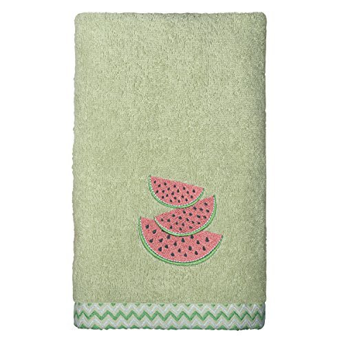 Peri Home Watermelon Embroidered Hand Towel, 100Percent Cotton, Green, 15x 26, Bordered by Peri Home