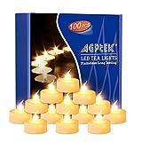 100er Pack LED Kerzen Warmweiß, AGPtek nicht flackernde flammenlose LED Teelichter batteriebetriebenede Kerzen für Party, Hochzeit, Weihnachten, Hausdecoration