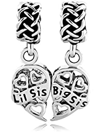 Pugster Sister Heart Filigree Big Sis Lil Sis Celtic Knot Gifts Charms Sale Cheap Beads fit Pandora Bracelet