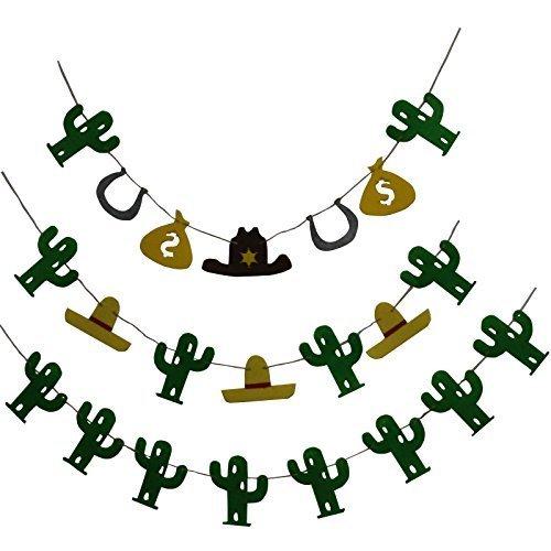 musykrafties Kaktus und Cowboy Stoffgirlande Girlande Bunt Hinweisschilder für Hochzeit Feiern Geburtstag Babydusche Dekoration 3 Stück mit Passende Trinkhalme 20-teilig