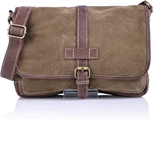 CROSBY & FRIENDS, Unisex Messenger-Bag Crossover Schultertasche Velours Leder Tasche Camel Beige 33x21 cm (BxH)