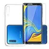 DYSu Custodia per SamsungGalaxyA72018(6.0) Trasparente TPU+ (Vetro Temperato) Silicone Morbido Coperchio Protettivo Custodia Bumper Flessibile Skin Case Cover Cassa -Clear