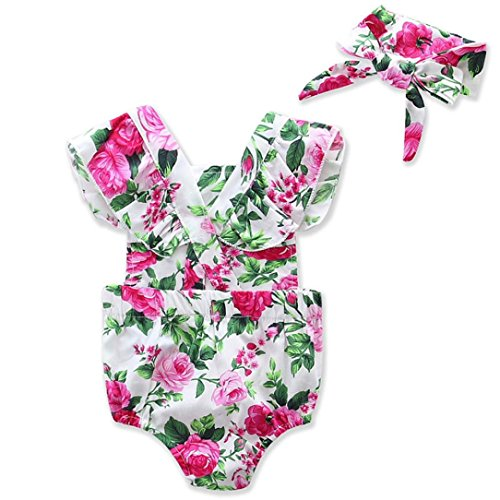 Tonwalk Baby Girls Floral Romper Jumpsuit Headband Outfits Clothes (24Months, Green)