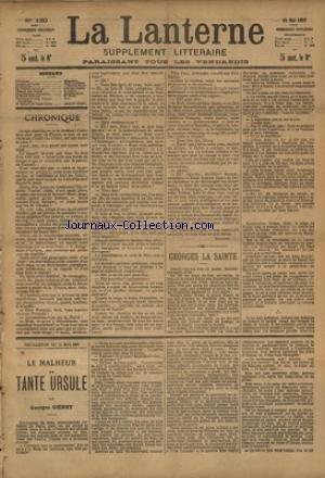 LANTERNE (LA) [No 150] du 15/05/1887 - GEORGES LA SAINTE PAR RICHEPIN - LA NOURRICE PAR IRENEE AVIAS - LA MEDAILLE DU REVERS PAR CHAVETTE - LES INFORTUNES D'UN GIBUS PAR ANGEVIN - LA SANTE PUBLIQUE PAR LE DR MARC - FEUILLETON / LE MALHEUR DE TANTE URSULE PAR OHNET