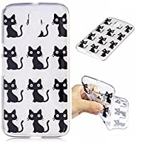 HeBan Clear Soft TPU Back Cover with Cute Pattern for Moto G4 - Black Little Cat