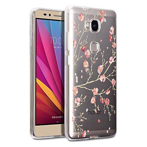 Hülle für Honor 5X Cover , Wenjie Rosa Blumen Silikon Handyhülle Schutzhülle für Huawei Honor 5X 5.5