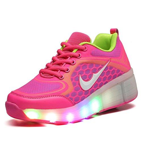 Adingshine Ninos Zapatos con Ruedas y LED (EU 30 Rosa)