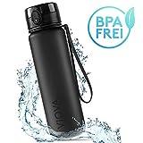 VIOVA Trinkflasche 1l schwarz - Flasche BPA frei aus Tritan - Sport Bottle auslaufsicher mit Fruchtsieb - Wasserflasche 1 Liter für Fitness, Outdoor und Büro