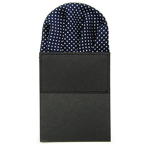 Classic Men's Suit Wedding Pocket Square Folded Handkerchief Holder Dot Design for Bridegroom Groomsman Navy Blue by Sopear -