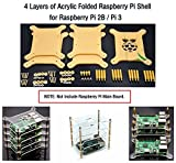 4 Layers of Acrylic Folded Raspberry Pi Shell, for Raspberry Pi 2B / Pi 3.