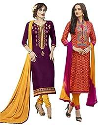 Set of 2 Thankar Crepe Dress Material (TDM141-5944.5945_Purple.Orange)