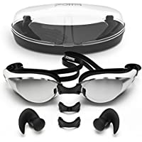 Swimming goggles with Anti Fog Technology for Women and Men - Customisable Nose Bridge for the for Adults and Kids - Packaged in Premium Goggle Case - FREE Ergonomic Silicone Earplugs Included