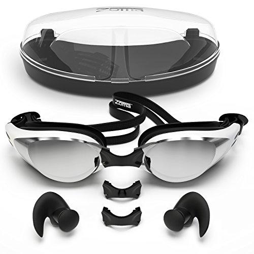 Occhialini da nuoto con tecnologia anti nebbia per donne e uomini, personalizzabile naso ponte per la perfetta per adulti e bambini-Confezionato in custodia occhiali-Auricolari ergonomici in silicone incluso, Black, Adult and Junior