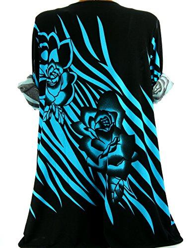 Charleselie94® - Tunique longue grande taille bohème chic turquoise SAVANA BLEU Bleu