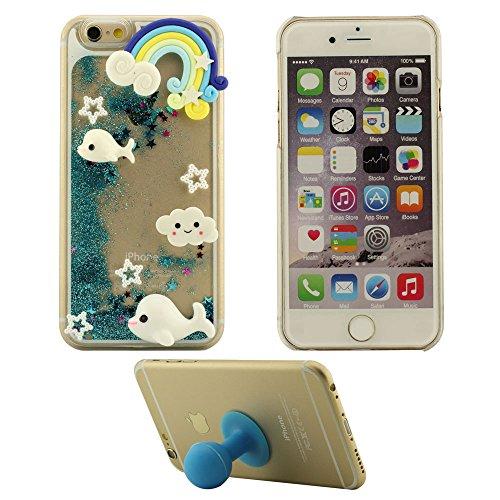 iPhone 6S Plus Coque Rose, Joli Mignonne 3D Conception Flowable Sable Liquide Eau Clair Transparent Rigid Housse Case Pour Apple iPhone 6 Plus / 6S Plus 5.5 inch + Silicone Titulaire bleu