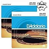 #8: D'Addario EZ910 Bronze Light (.011-.052), 85/15 Acoustic Guitar Strings (2 Pack)