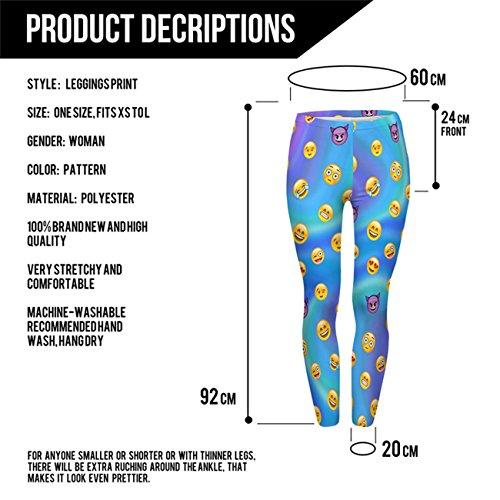 Kukubird Gedruckte Muster Frauen Yoga Leggings Gym Fitness Running Pilates Strumpfhose Skinny Pants 8 bis 12 Stretchable Emoji Blue Holographic
