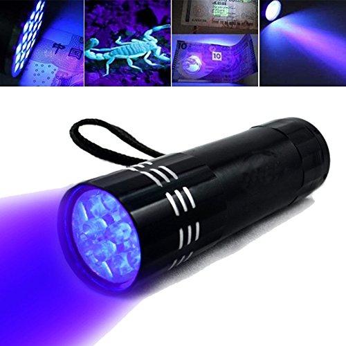 UV-Taschenlampe, violett, elektrisch, Fleckenentferner, fluoreszierendes Whitening Agents Detektor für trockene Flecken auf Teppichen, Vorhängen, Stoffen, Schwarz ()