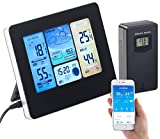 infactory WLAN Thermometer Außen: WLAN-Funk-Wetterstation mit Außensensor, Farbdisplay, Uhr & Gratis-App (Funkwetterstation mit Außensensor)