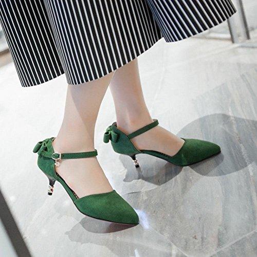 Mee Shoes Damen modern speziell bequem Kitten-Heel spitz Nubukleder ankle strap Schnalle Schleife Knöchelriemchen Pumps Grün