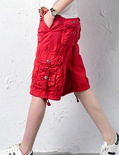 Ghope Damen 3/4-Hose Designer Chino Cargo Shorts Capri Bermuda kurze Stoffhose Jeanshose Reißverschluss Cargo 6 Farbe Taille W28-W38 Rot