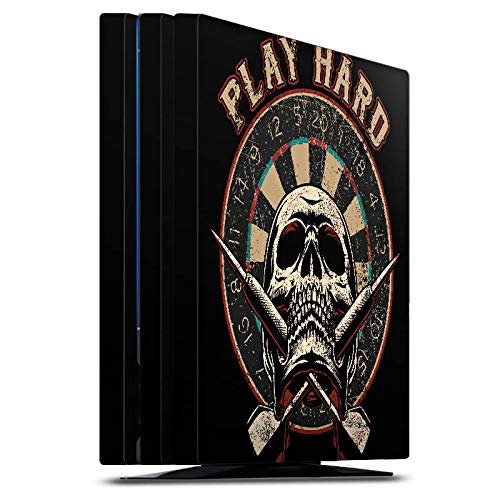 DeinDesign Skin kompatibel mit Sony Playstation 4 Pro Aufkleber Folie Sticker Dart Totenkopf Play Hard