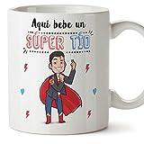 MUGFFINS Tazas para tío – AQUÍ Bebe UN Super TÍO – Taza Desayuno 350 ml Idea Regalo para...