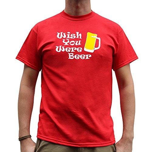 Nutees Wish You Were Beer Irish St Patrick Day Funny Herren T Shirt - Rot Small (Bier Bong Kostüm)