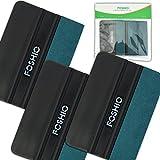 FOSHIO Black Card Squeegee con borde de fieltro de micro-fibra verde 4 pulgadas de vinilo de coche de instalación de la herramienta útil para vinilo auto envoltura, Pack-3