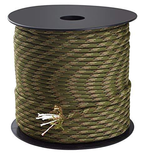 Trexi Paracord-Seil mit 250kg geprüfter Traglast | original 7-Strands-Core | US MIL-Spec 5040-H Type III | 100m Spule | 550 Cord | Fallschirmleine (Tarnfarben) -