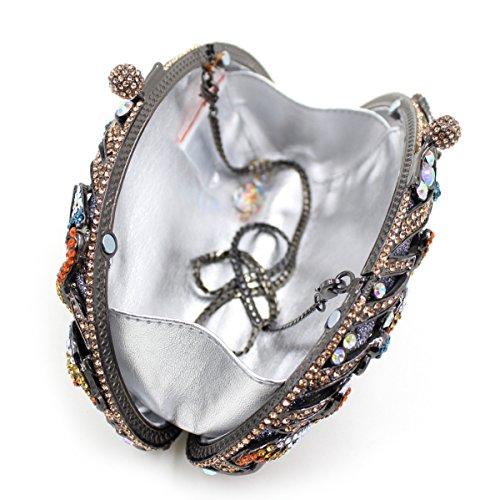 Il lusso degli strass Flamingo Borse sera Ladies preferito borsetta party di nozze portamonete frizione telaio metallico B