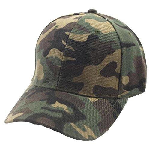Hut BakeLIN Mode Unisex Damen Herren Camouflage Drucken Einstellbare Hip Hop Hut Baseball Sport Mütze Outdoor Sun Cap (Grün Grau) (Einheitsgröße, Grün)