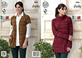 King Cole Ladies Venice Chunky Knitting Pattern Womens Polo Neck Sweater Dress & Waistcoat (4306)