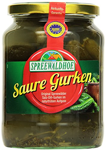 Spreewaldhof Saure Gurken, Salz-Dill-Gurken in natürtrübem Aufguss, 650 g