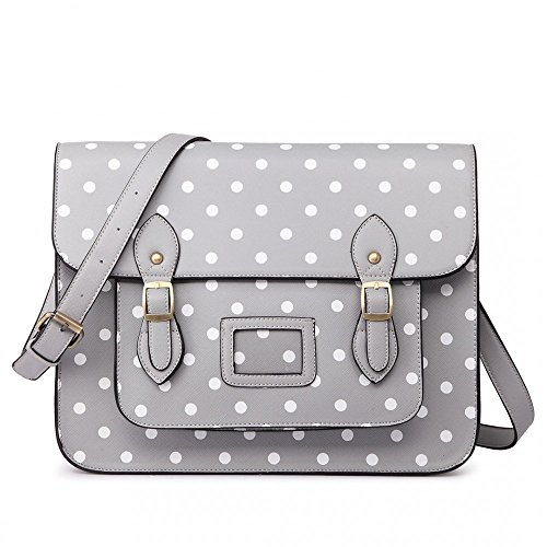 Miss Lulu , Damen Satchel-Tasche grau Polka Dot Grey -