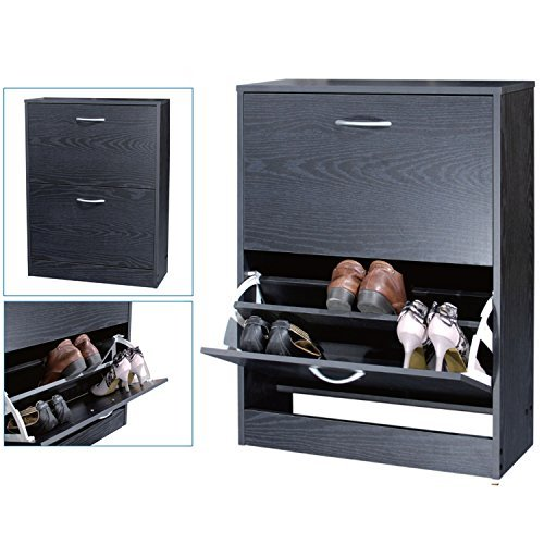 Top Home Solutions 2 Drawer Shoe Storage Cabinet Cupboard (Black) by Top Home Solutions