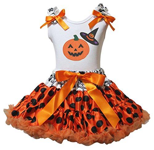 n Kürbis Hexe Hat weiß Shirt schwarz Dots orange Rock–74bis 122 Gr. xl, Orange (Orange Tutu Hexe Kind Kostüme)