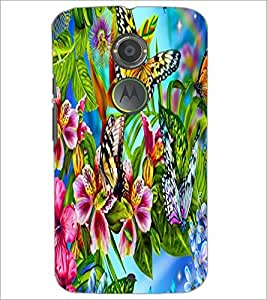 PrintDhaba Butterflies and Flowers D-2175 Back Case Cover for MOTOROLA MOTO X2 (Multi-Coloured)
