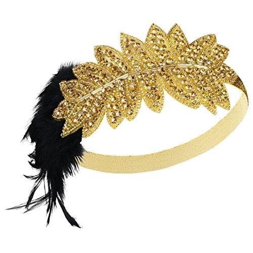 PrettyGuide Damen 1920er Stirnband Perlen Feder Gatsby Charleston Kostüm Gold (1920er Jahren Flapper Paar Kostüm)