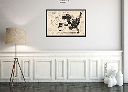 New York Map Company Weltkarte 1918 USA Siegkarte Umrisskarte der zusammenhängenden USA zeigt den Status historisch antiker Vintage-Look