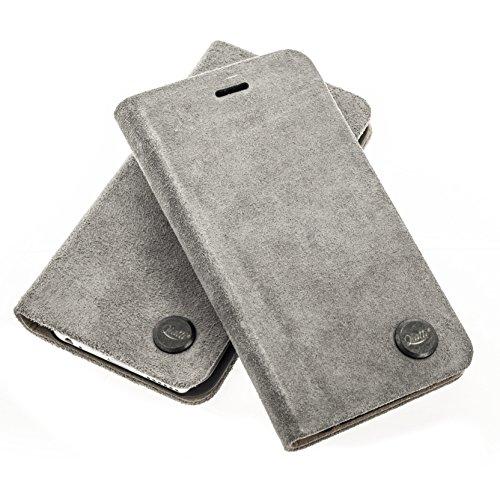 QIOTTI >          Apple iPhone 6 und iPhone 6S (4,7&quot;)          < incl. PANZERGLAS H9 HD+ Booklet Wallet Case Hülle Premium Tasche aus echtem Kalbsleder mit KARTENFÄCHER und STANDFUNKTION. CARRIER SLIM KOLLEKTION in DEN ALCANTARA PETROL