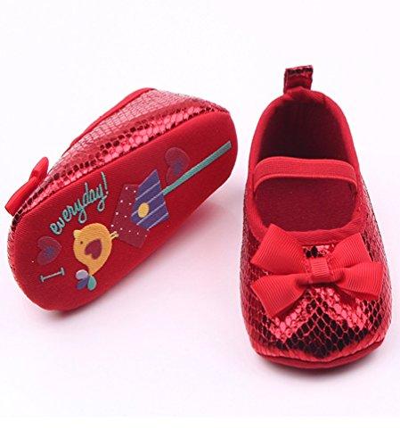 Vermelho Bowknot derrapante Baby Bebê Anti De Sapatos Sapatos Chengyang Girl Princesa qavRw4aPU