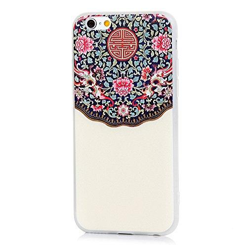 MAXFE.CO TPU Silikon Hülle für iPhone 6 6S Handyhülle Schale Etui Protective Case Cover Rück mit Großer weißer Hund Skin Silikon Stereo Lithographie Design Im chinesischen Stil
