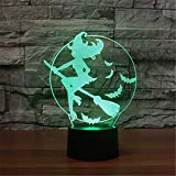 3D Illusion Optical Lampada per camera da letto per bambini Halloween Witch Broom Pattern 7 colori che cambiano Touch Switch Desk Visual LED Night Light Regali per bambini Decorazione domestica USB Ba