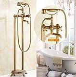 Messing antik freistehend Badewanne Wasserhahn Badewanne Mischbatterie, Hand Dusche Badezimmer Dusche Set