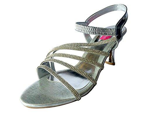 Style n Step Bridal Shoes-Scarpe da donna, stile etnico Salwar Juttis Mojari-Spille da balia Argento (argento)